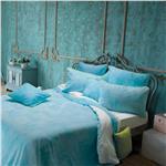 Bon Voyage turquoise bed duvet cover