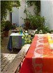 fleurs gourmandes peach tablecloth