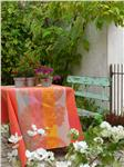 Fleurs Gourmandes in Peach coated tablecloth France