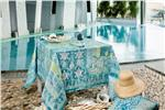 Rialto turquoise tablecloth