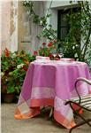 Victoria in cyclamen tablecloth