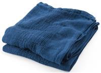 Indigo leno stripe throw in linen