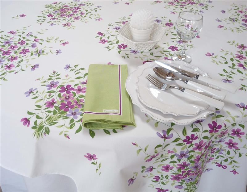 Fleurs De Lin In Lilas French Tablecloth 55x55 Inches By