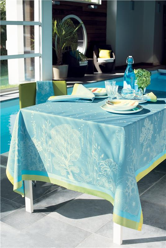 Corail In Lagon Or In Rose French Tablecloth By Garnier