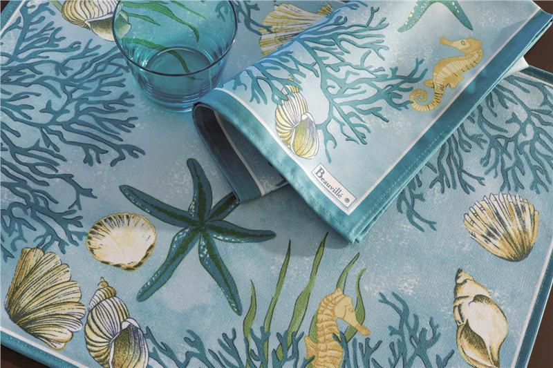 Corail French Table Linens In Blue By Beauville