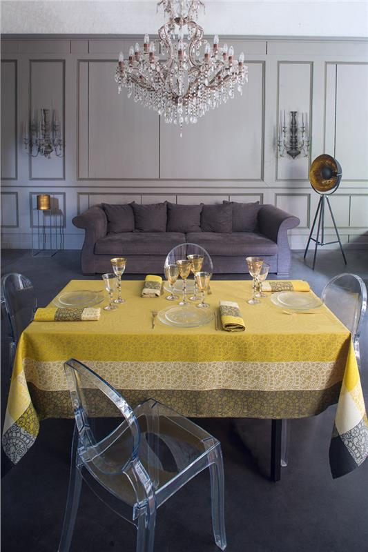 Nastasya Gold French Tablecloth By Le Jacquard Francais