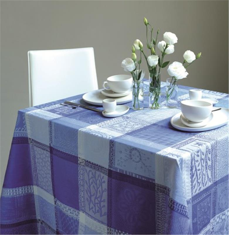 Mille Wax Coated French Table Linens In Ocean Blue